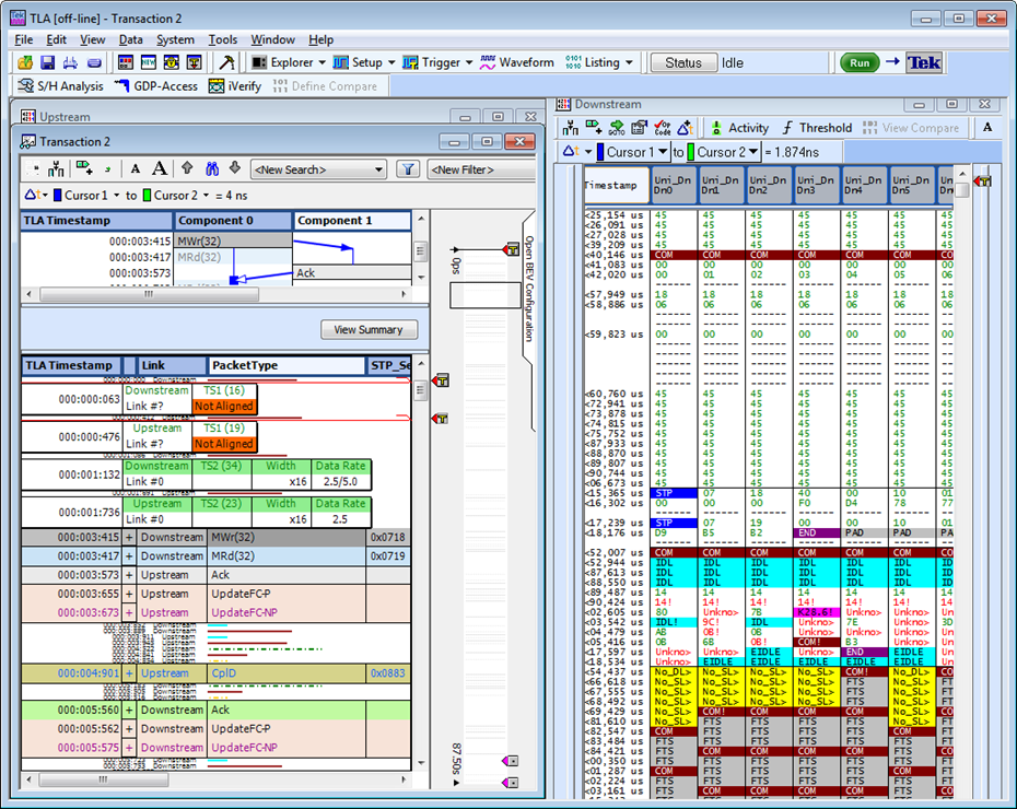 "Screen capture of the Tektronix Serial Protocol Analyzer information visualizations. Six separate visualizations are displayed at once, from the highest level ""bird's eye view"" to the lowest level command view."