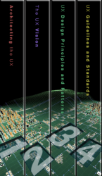 Image of four volume set of books, with the spines creating a complete image, reflecting the front covers