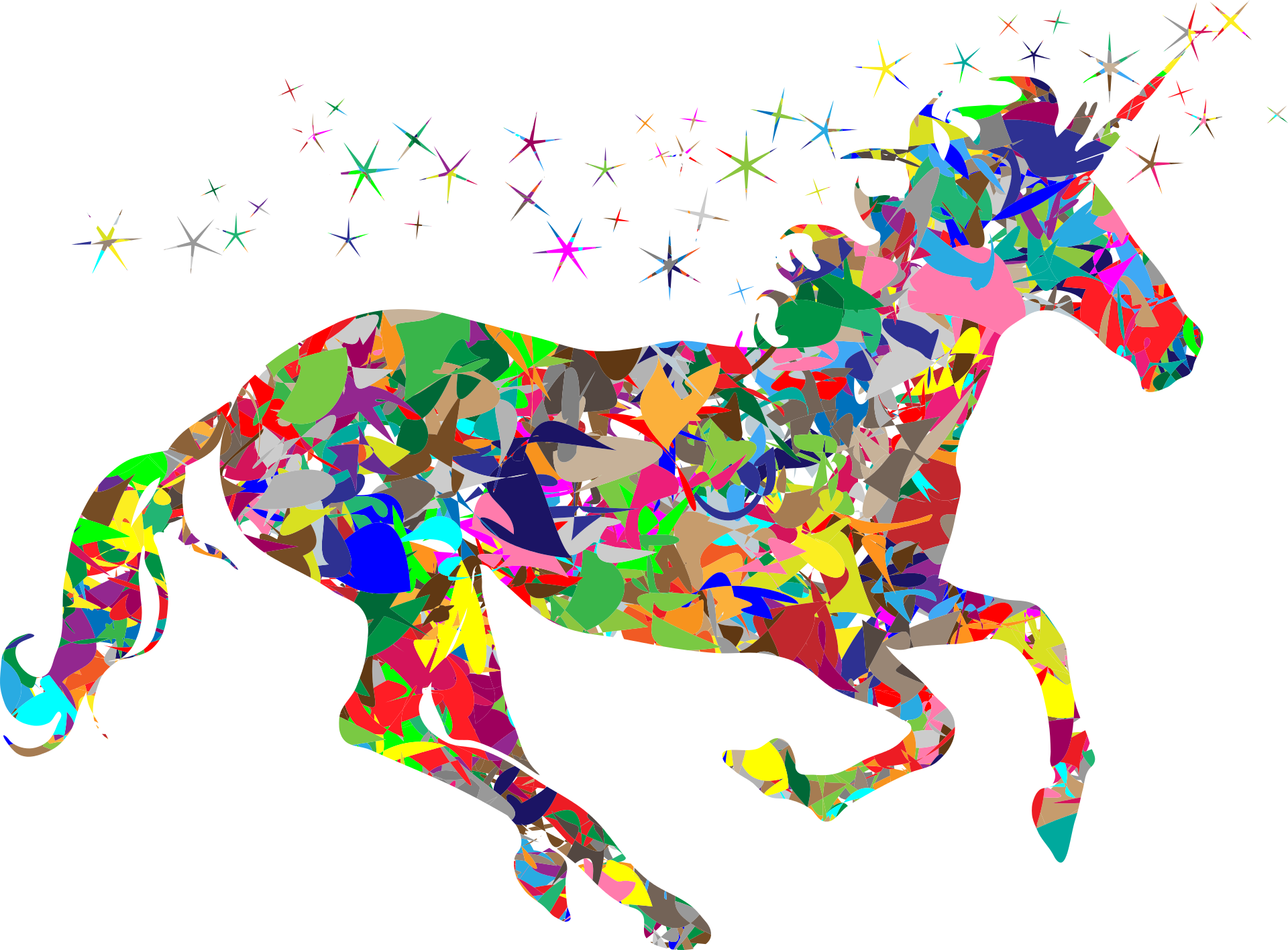 Image of a rainbow colored unicorn