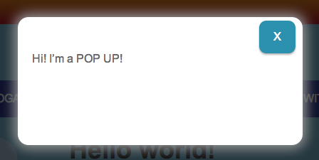 "Screenshot of a simple pop-up window with text that says: ""Hi! I'm a POP up!"""