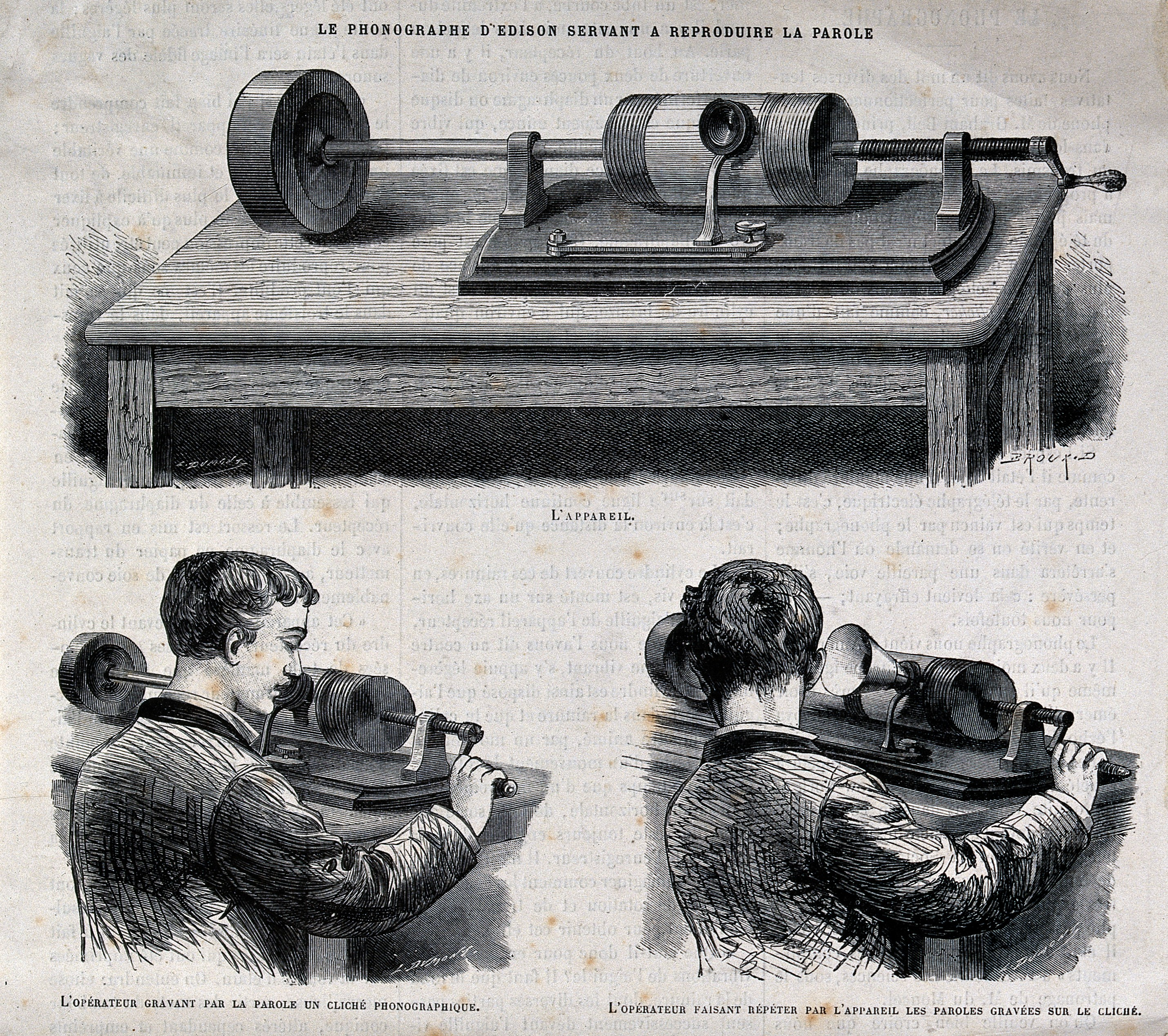 A reproduction of a wood engraving showing the use of an Edison wax cylinder recorder in both recording and playback mode.