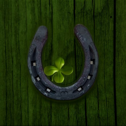 Photo of a horseshoe and four-leaf clover, signifying good fortunie