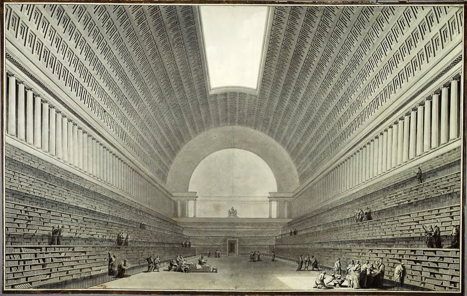 Scanned image of Boullee's proposed royal library from 1795.